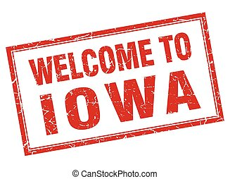 Iowa red square grunge welcome isolated stamp
