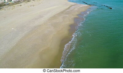 Flight over Sandy Beach - Aerial View, Waves and Sandy Beach