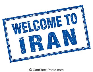 Iran blue square grunge welcome isolated stamp