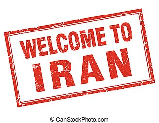 Iran red square grunge welcome isolated stamp
