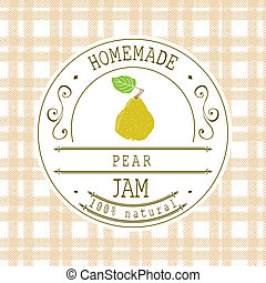 Jam label design template for pear dessert product with hand...