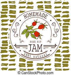 Jam label design template for Rose hip dessert product with...
