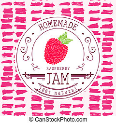 Jam label design template for raspberry dessert product with...