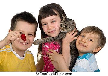 crianças, gato