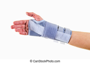 Man Wearing Supportive Wrist Brace in Studio - Close Up of...