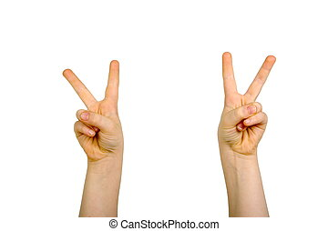 Hands raised with peace sign