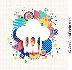 Chef hat menu icon concept color shape illustration