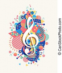 Music note icon g treble clef concept color shape