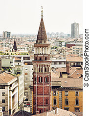 San Gottardo church in Milan, Italy - Bell tower of the San...