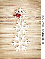 Cute snowman made of snow flakes and chili pepper, symbol of...