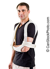 Man with Arm Supported in Sling in White Studio - Waist Up...