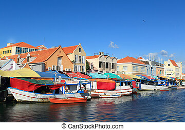 curacao - floating market at willemstad-curacao