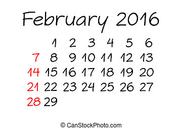 February Year 2016 Calendar Handwritten - Handwritten...
