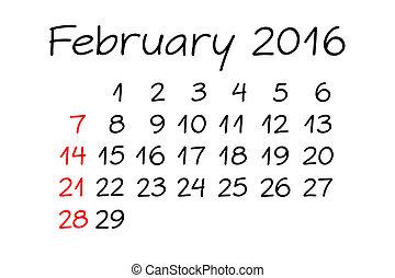 February Year 2016 Calendar Handwritten - Handwritten...