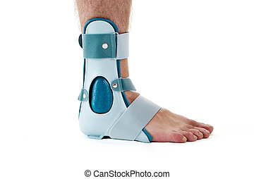 Man Wearing Ankle Support Cast in White Studio - Close Up of...