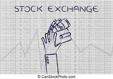 hand holding wallet with cash over financial stats, with text Stock Exchange