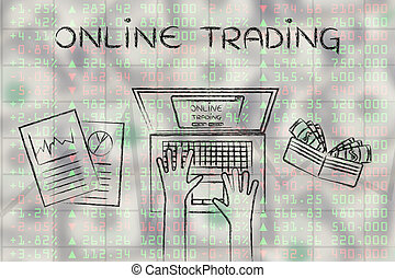 computer user on top of stock market data, with text Online Trading