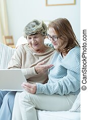 Spending time together in family - Elderly mother and her...