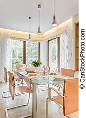 Extravagant dinette ready for meal - Vertical view of...