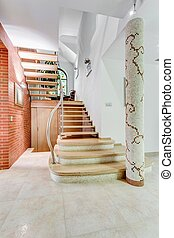 Fancy stairs in flashy house - Image of stairs leading to...