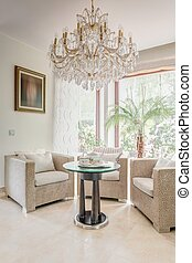 Glossy and luxurious coffee room - Vertical photo of glossy...