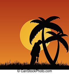 man drunk illustration in nature with palm