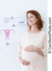 In vitro pregnancy - Middle aged happy woman and in vitro...