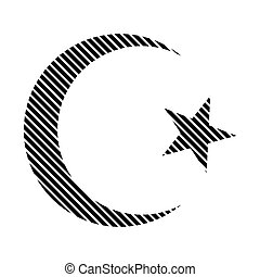 Star and crescent sign - Star and crescent sign on white...