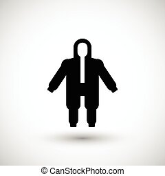 Protective safety overalls icon isolated on grey Vector...