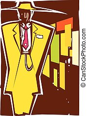 Zoot Suit Night - Woodcut style image of a man in zoot suit