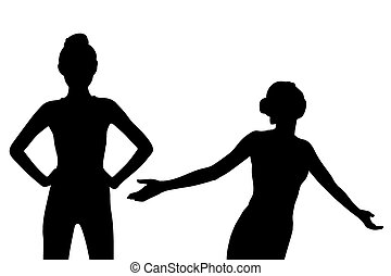 Young sport woman feel carefree - Silhouette of Young sport...