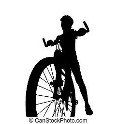 silhouette of Biker girl