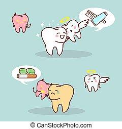 whiten teeth vs brown teeth - cartoon whiten teeth vs brown...