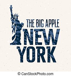"T shirt print - ""New York"" vintage textured typography. T..."
