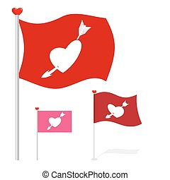Valentines Day flag Red banner heart and arrow Evolving flag...