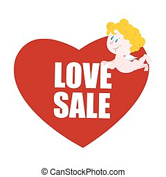 Sale Valentines day. Heart and Cupid. Logo for Valentines day special Discount. 14 February. Little cute Angel holding large red heart symbol of love.