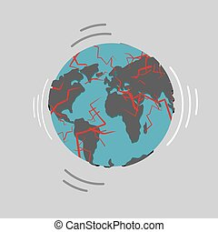 Earthquake. Earth destruction. Disaster fracture of the...