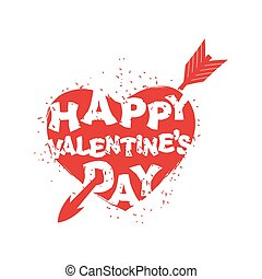 Happy Valentines Day sign Logo of heart with an arrow Logo...