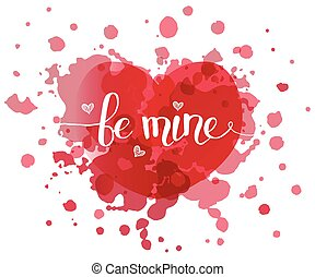 Hand sketched Be Mine text as Valentines Day logotype, badge...