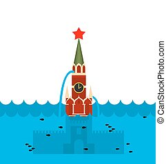 Moscow Kremlin flood Russian sight in water Russian Red...