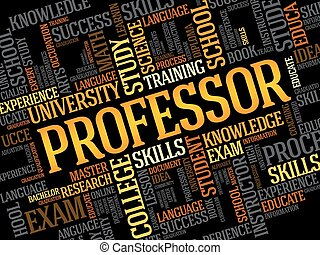 Professor word cloud, education concept