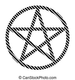 Pentagram sign on white - Pentagram sign on white background...