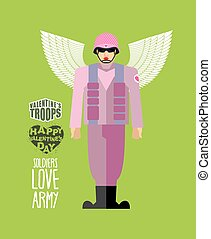 Soldiers love army Cupid in uniform Helmet and body armor...