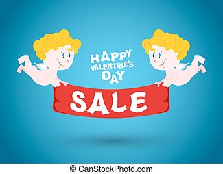 Valentines day sale. Holiday sales symbol. Cupid holding a Red Ribbon. Two cute angels and Ribbon with text. Lute discounts on merchandise in store.