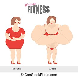 Womens fitness. Woman body before and after. Sports exercise and athletic figure. Fat woman and woman bodybuilder. Fat girl with big belly. Strong lady with big muscles. body shape before and after workouts fitness. Female bodybuilding athletic in bikini