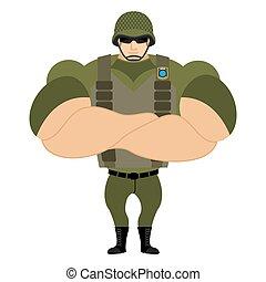 Soldiers in flak vest Military helmet Powerful soldiers in...