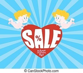 Big sale on Valentines day. Cupid and big heart. Discounts...