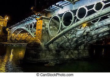 Triana, Puente, en, noche, en, sevilla,