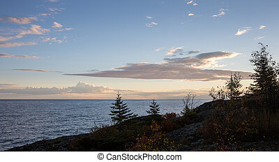 Great Lakes Shoreline in Dawn Light - Rugged shore line...