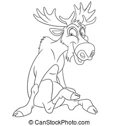 cute cartoon moose - cute and happy cartoon moose or...